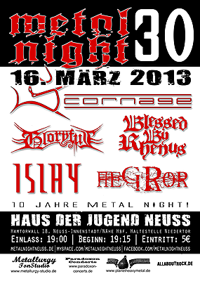 METAL NIGHT NEUSS: mit Scornage, Gloryful, Aegror, Blessed by Rhenus, Islay