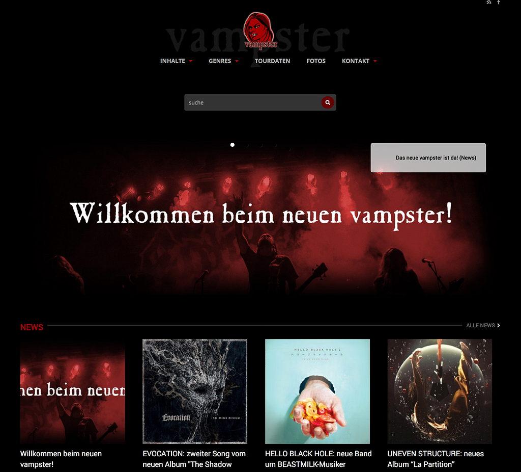 VAMPSTER: Re-Launch der Website