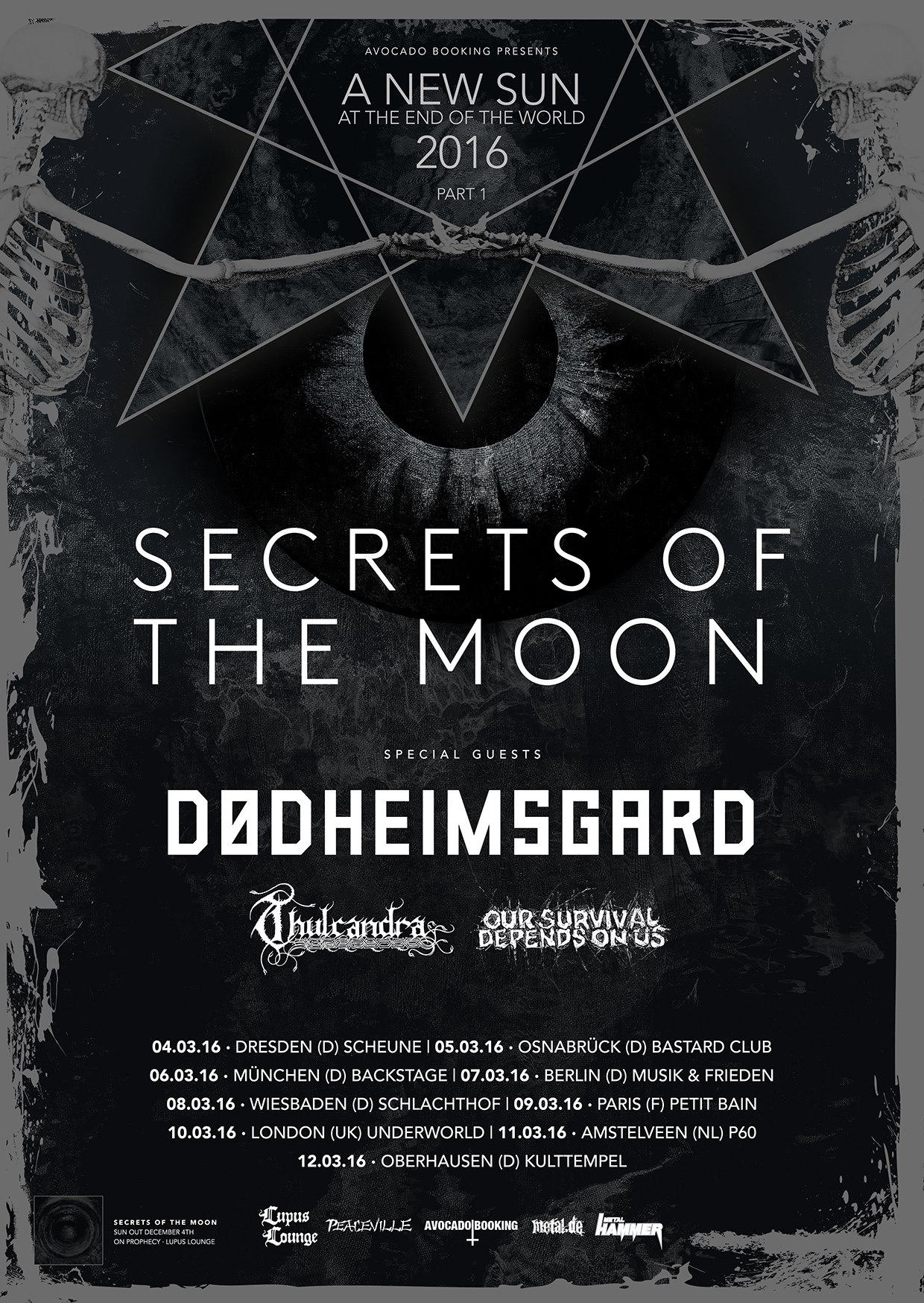SECRETS OF THE MOON + DØDHEIMSGARD + THULCANDRA + OUR SURVIVAL DEPENDS ON US, 04.03.2016, Scheune Dresden