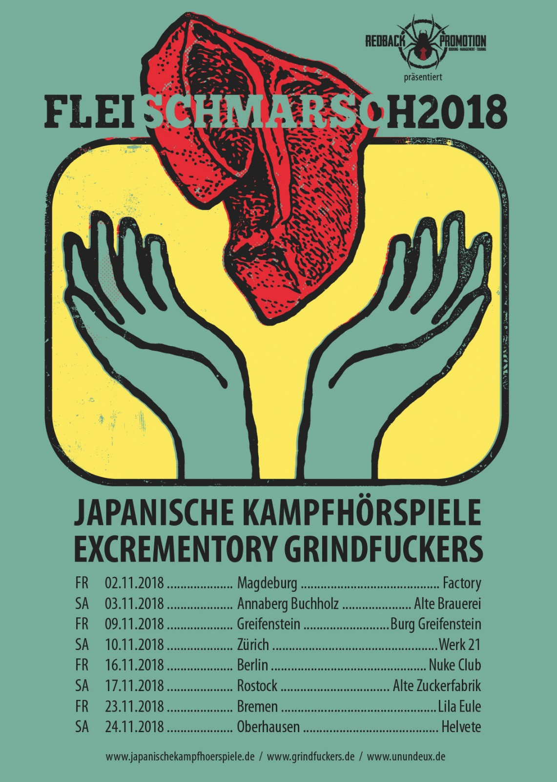 Excrementory Grindfuckers + Japanische Kampfhörspiele: Fleischmarsch 2.0 Tour